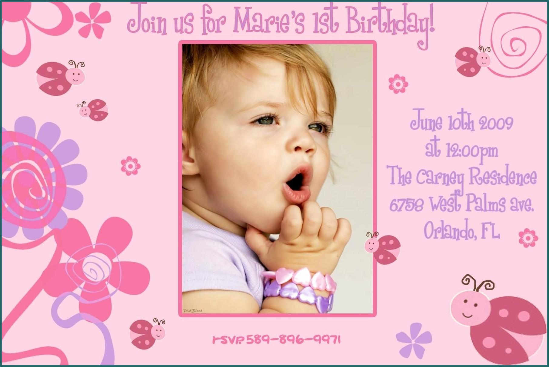 1st Birthday Invitation Card Free Download