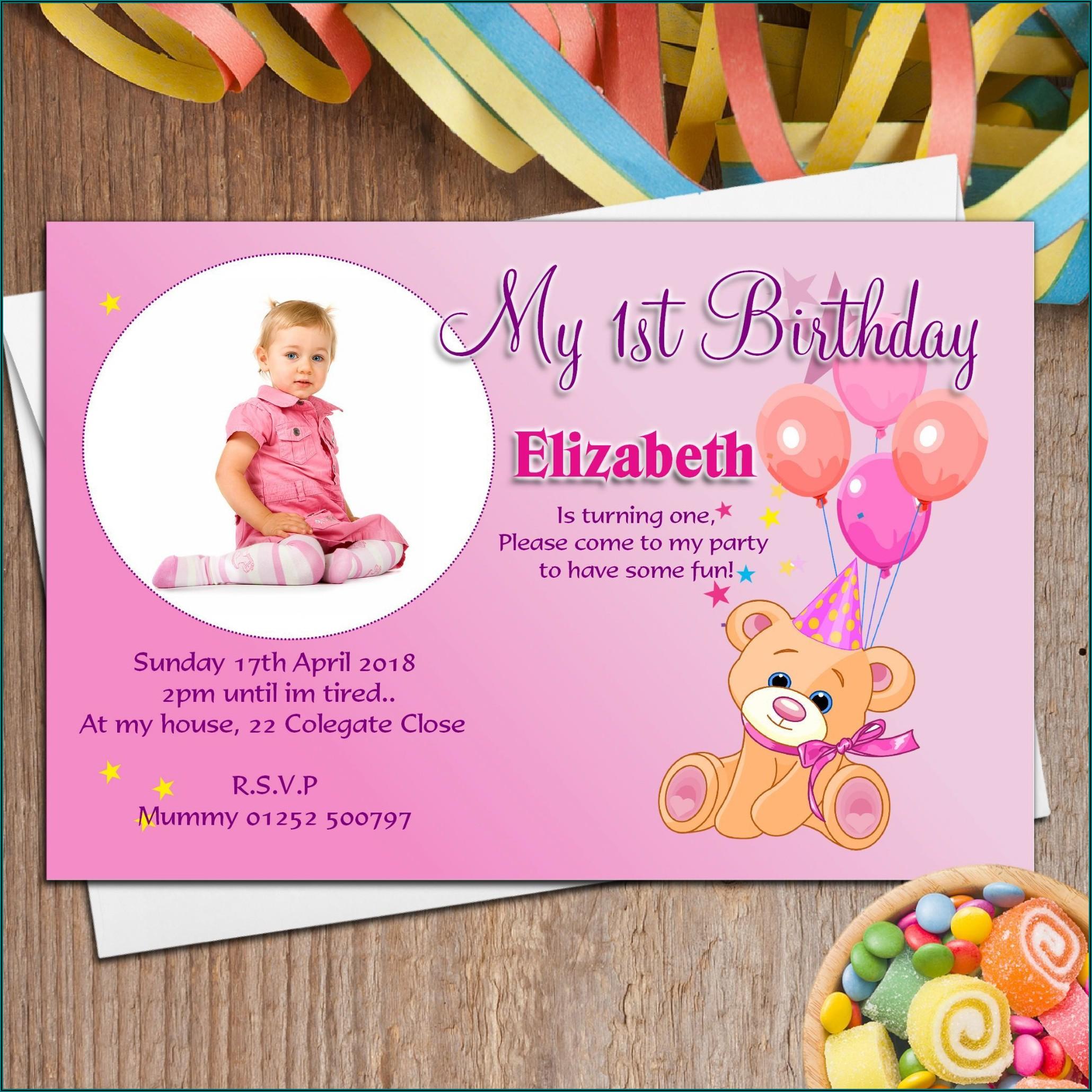 1st Birthday Invitation Card India