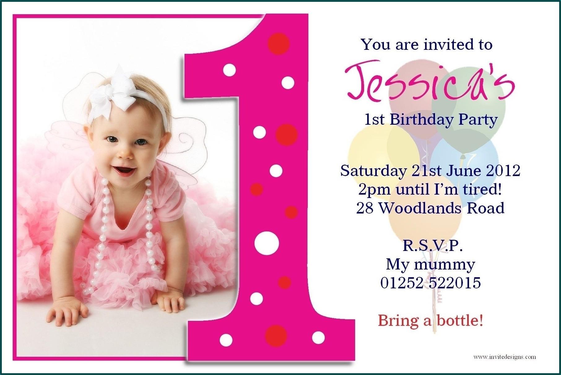 1st Birthday Invitation Template Download