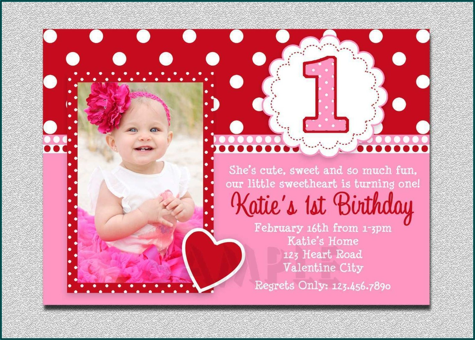1st Birthday Invitation Template With Photo