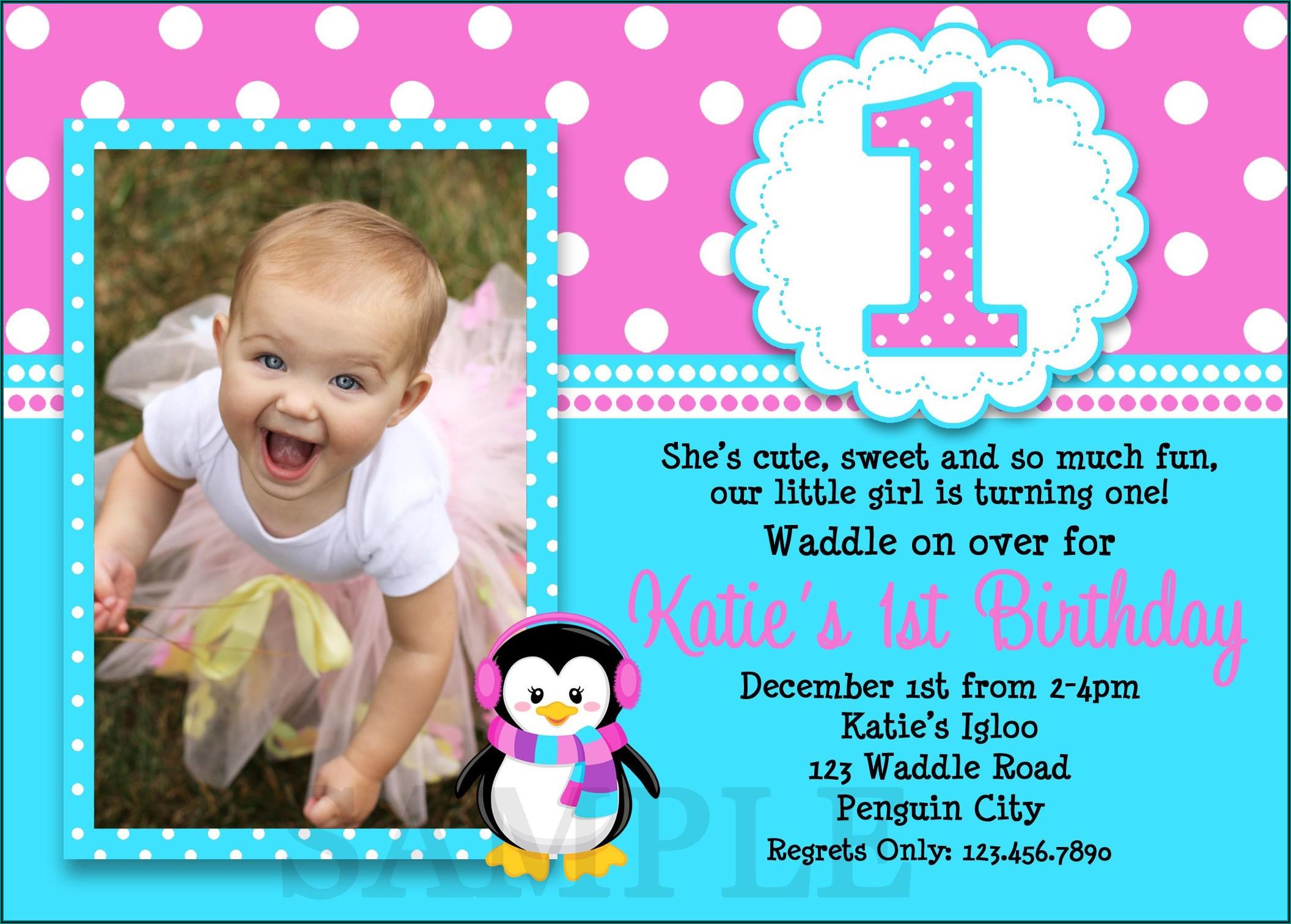 1st Birthday Invitation Templates With Photo