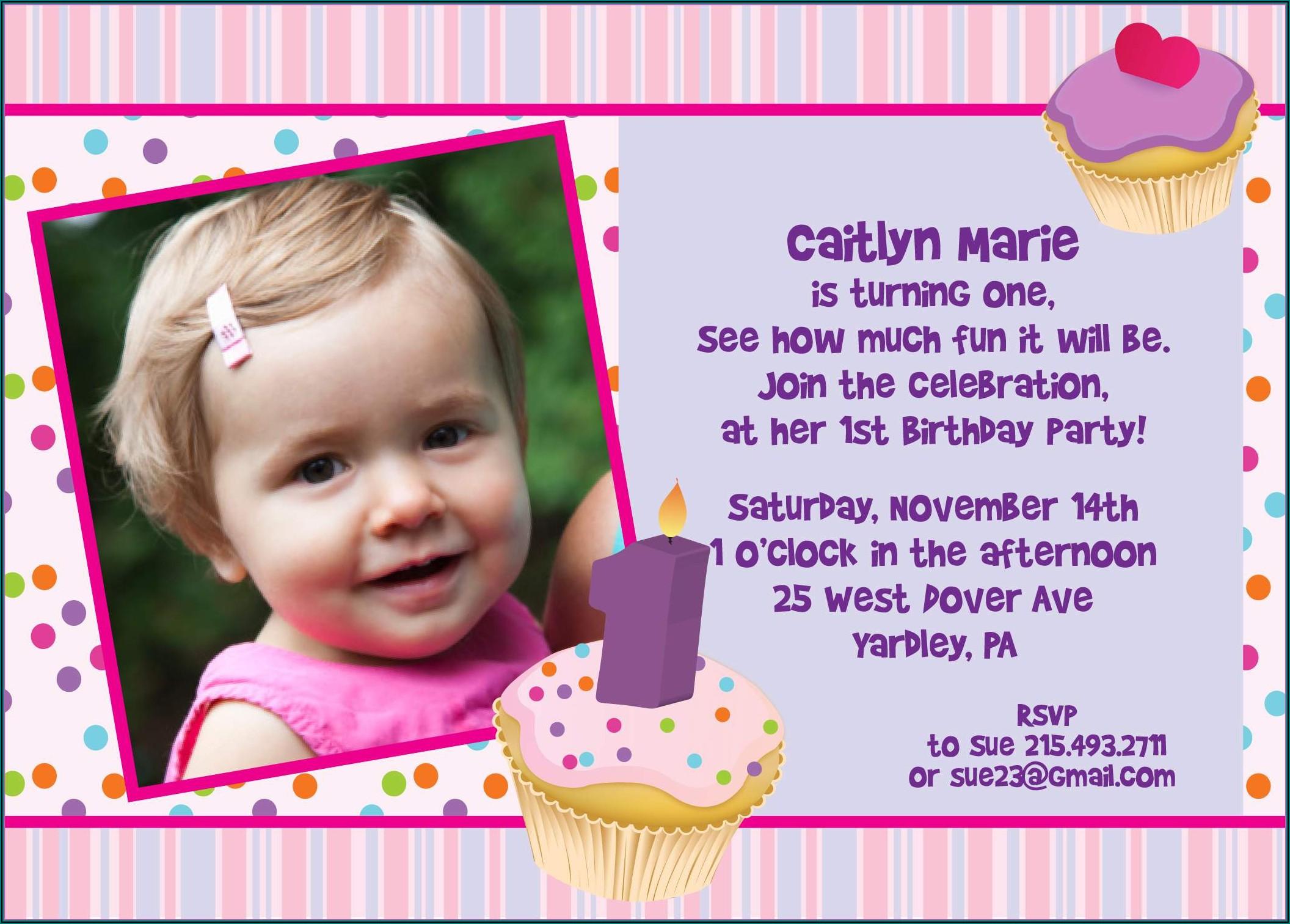 1st Birthday Invitations Templates With Photo Free