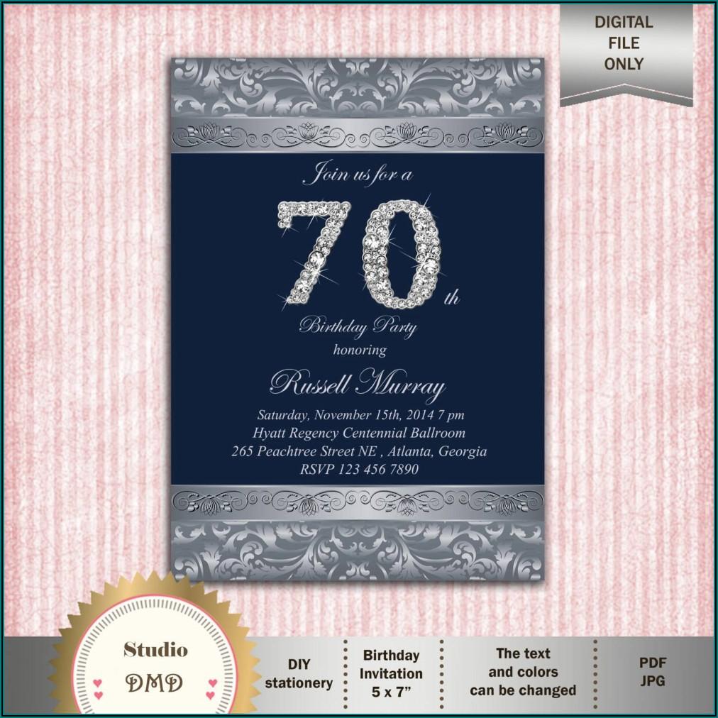 70th Birthday Party Invitations Templates