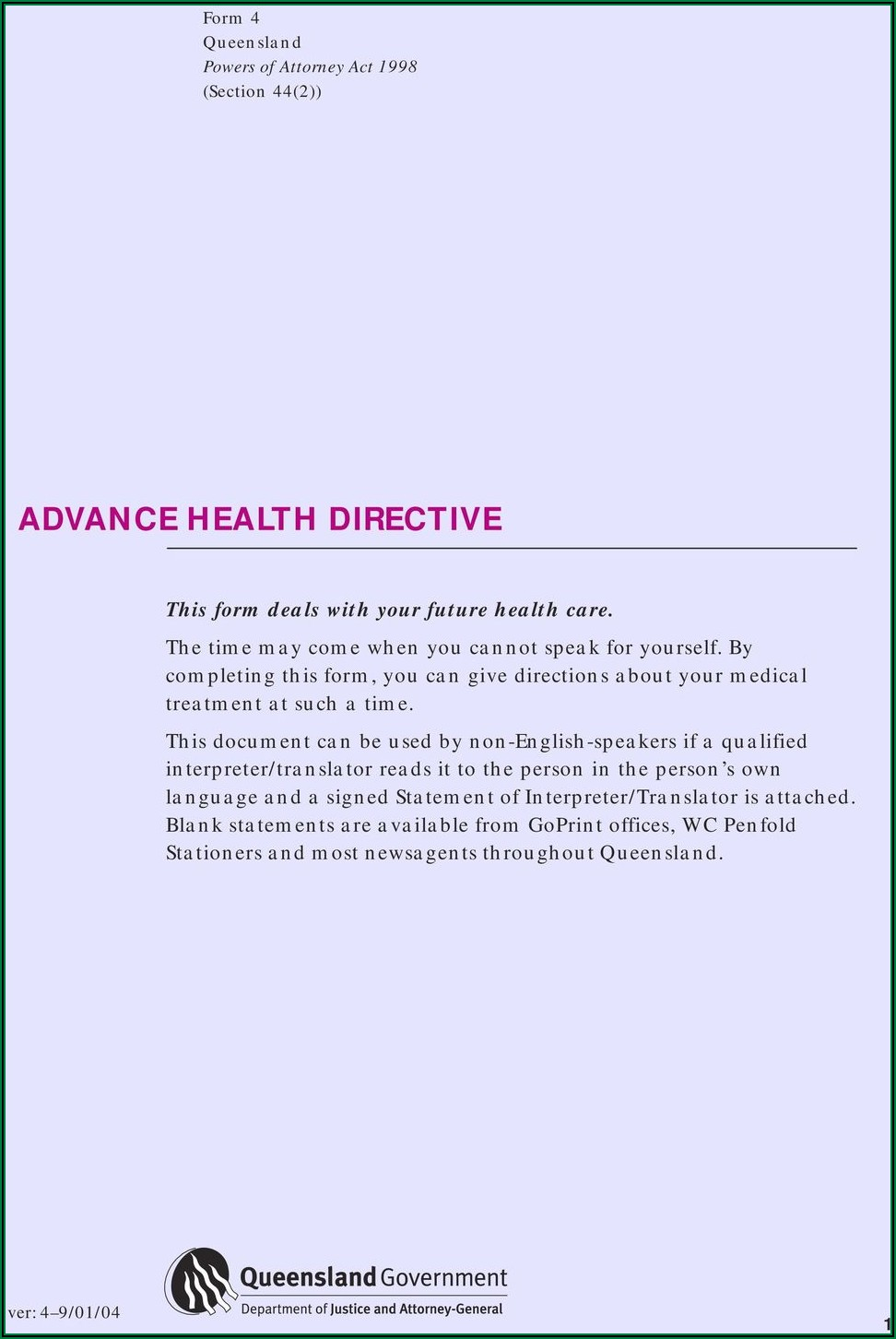 Advance Care Directive Form Pdf Qld