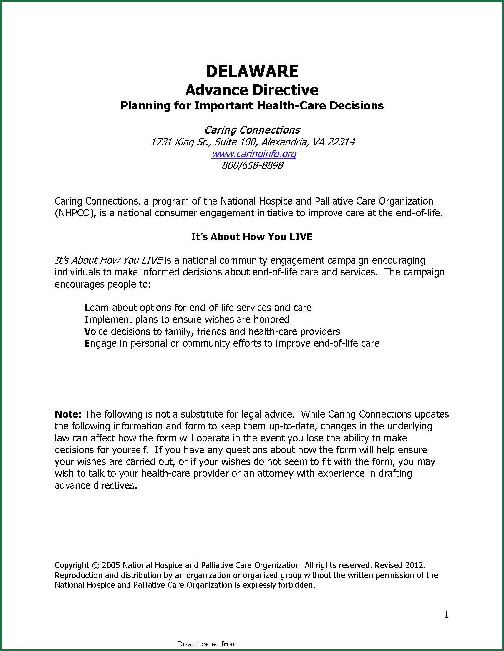 Advance Care Directive Form Pdf