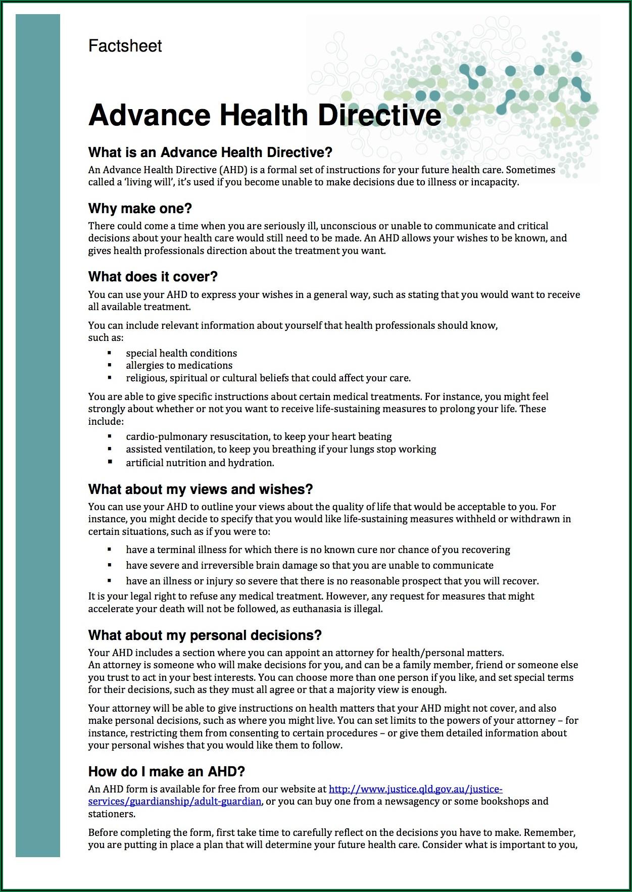 Advance Care Directive Form Queensland