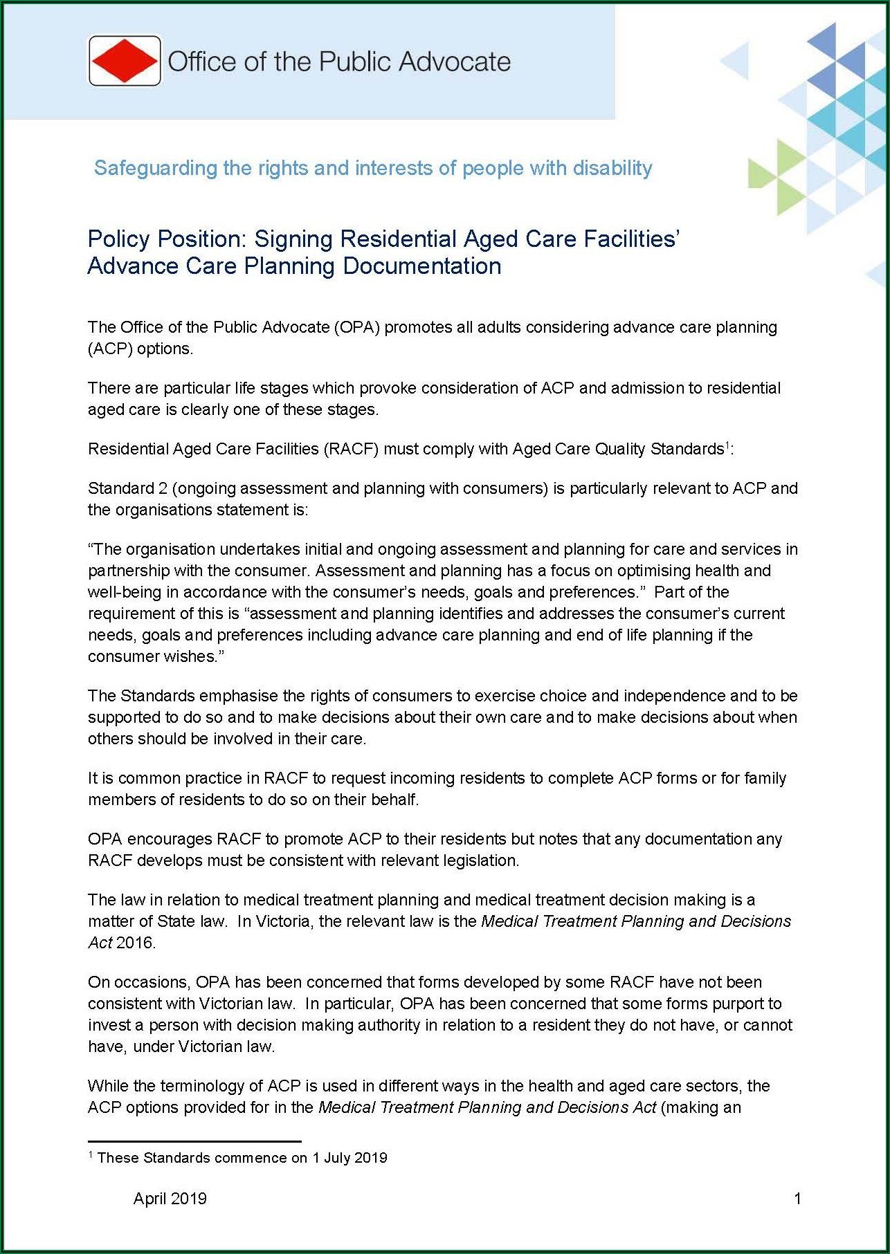 Advance Care Directive Form Victoria