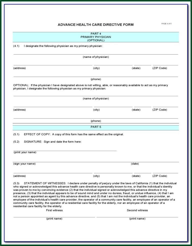 Advance Care Directive Form Wa