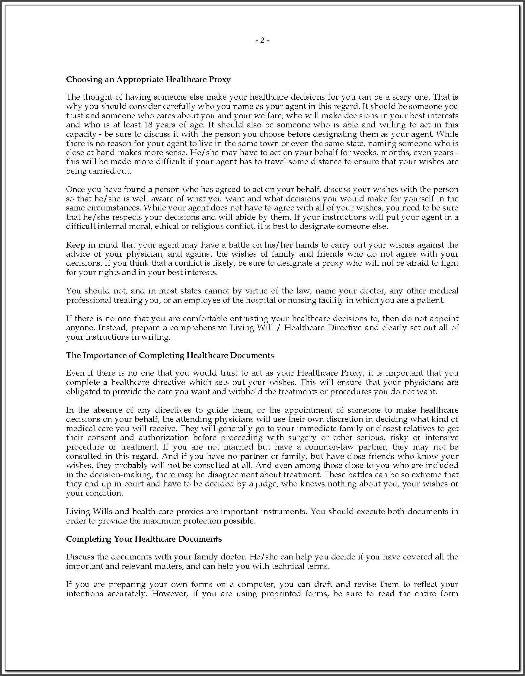 Advance Care Directive Form Washington State