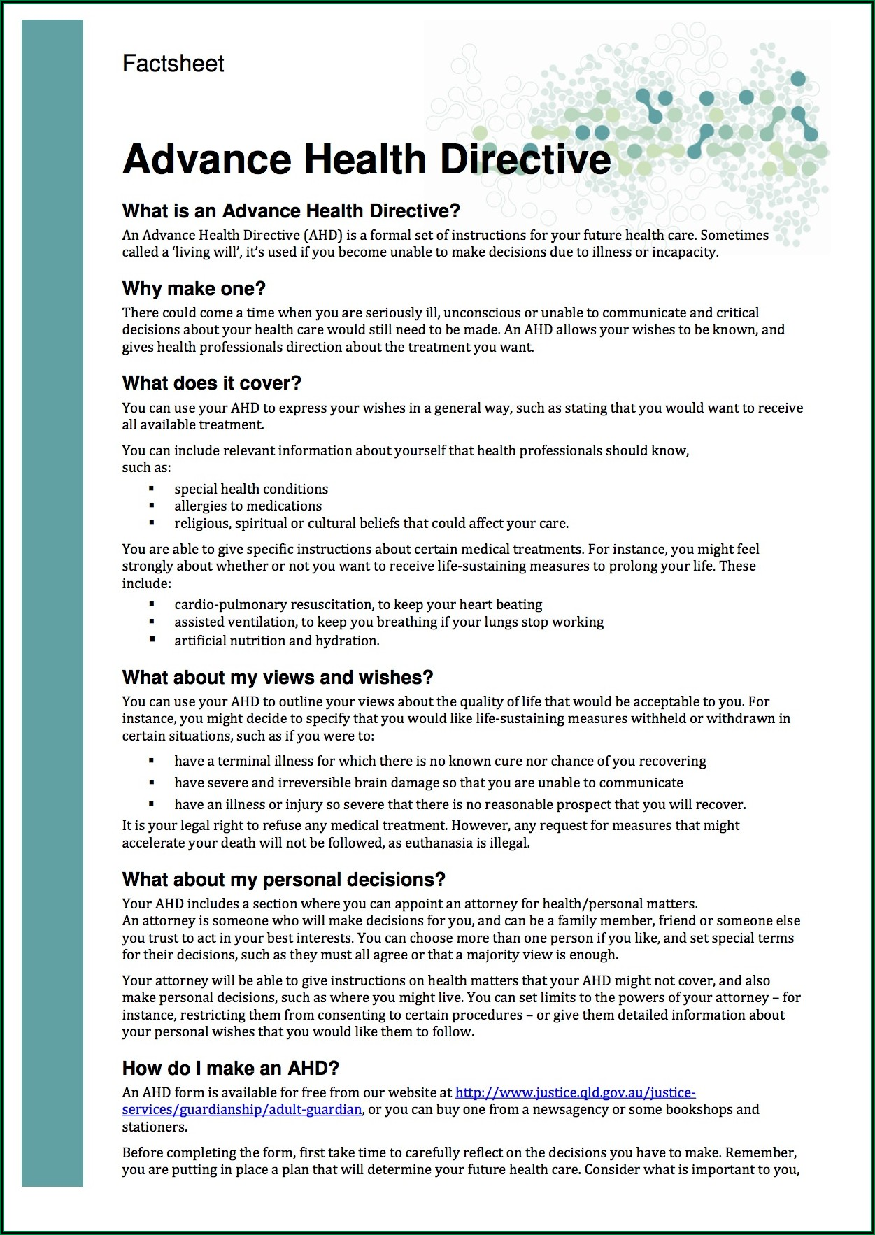 Advance Care Directive Form Western Australia