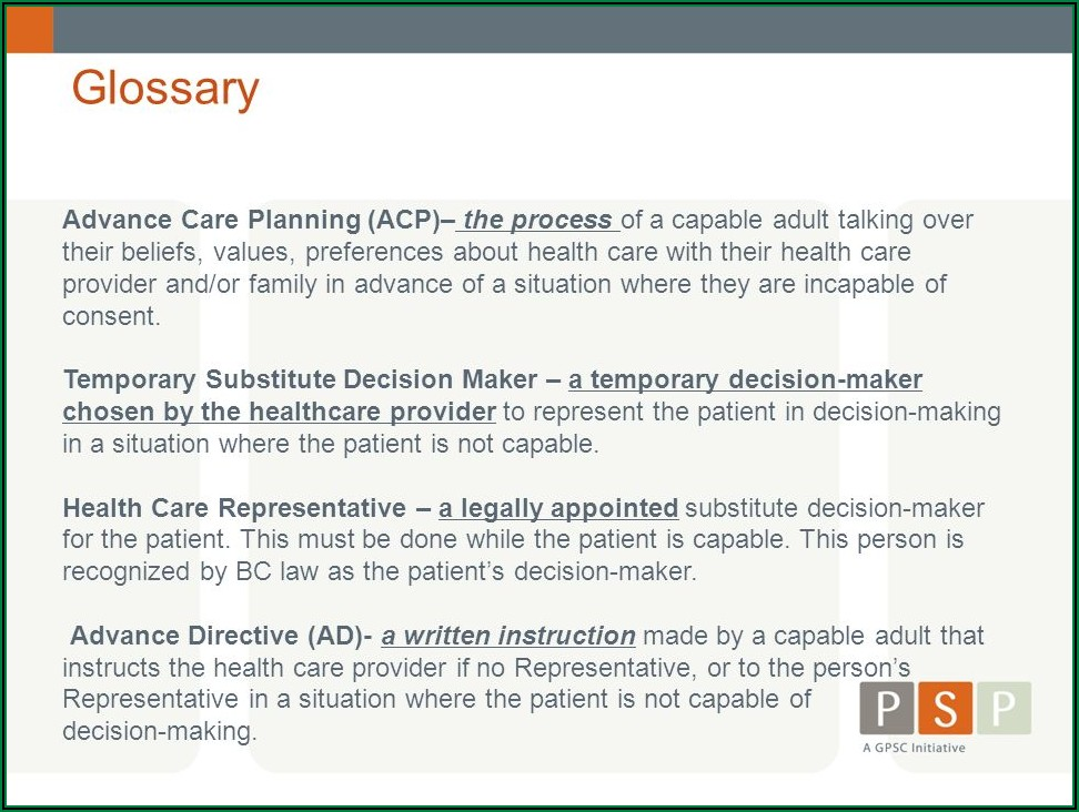 Advance Care Directive Forms Bc