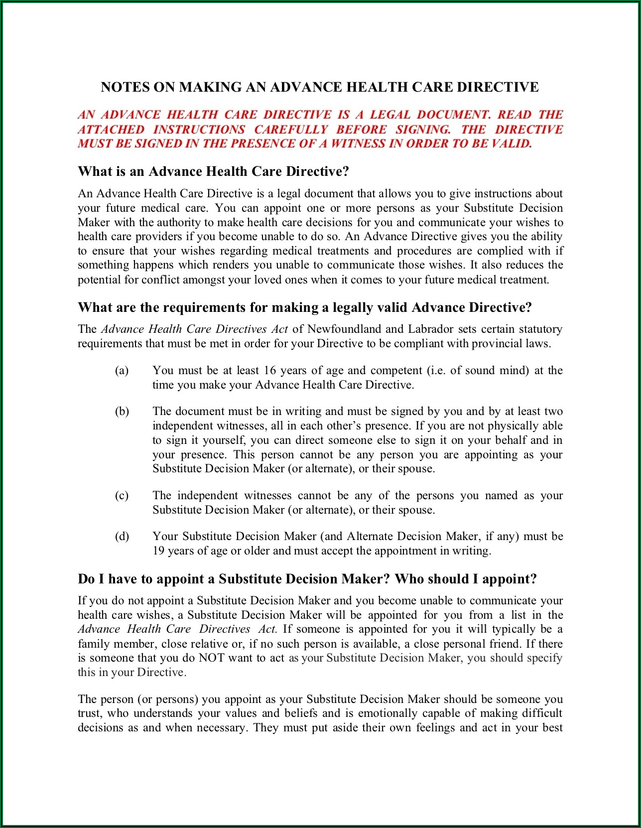 Advance Care Directive Forms Ontario