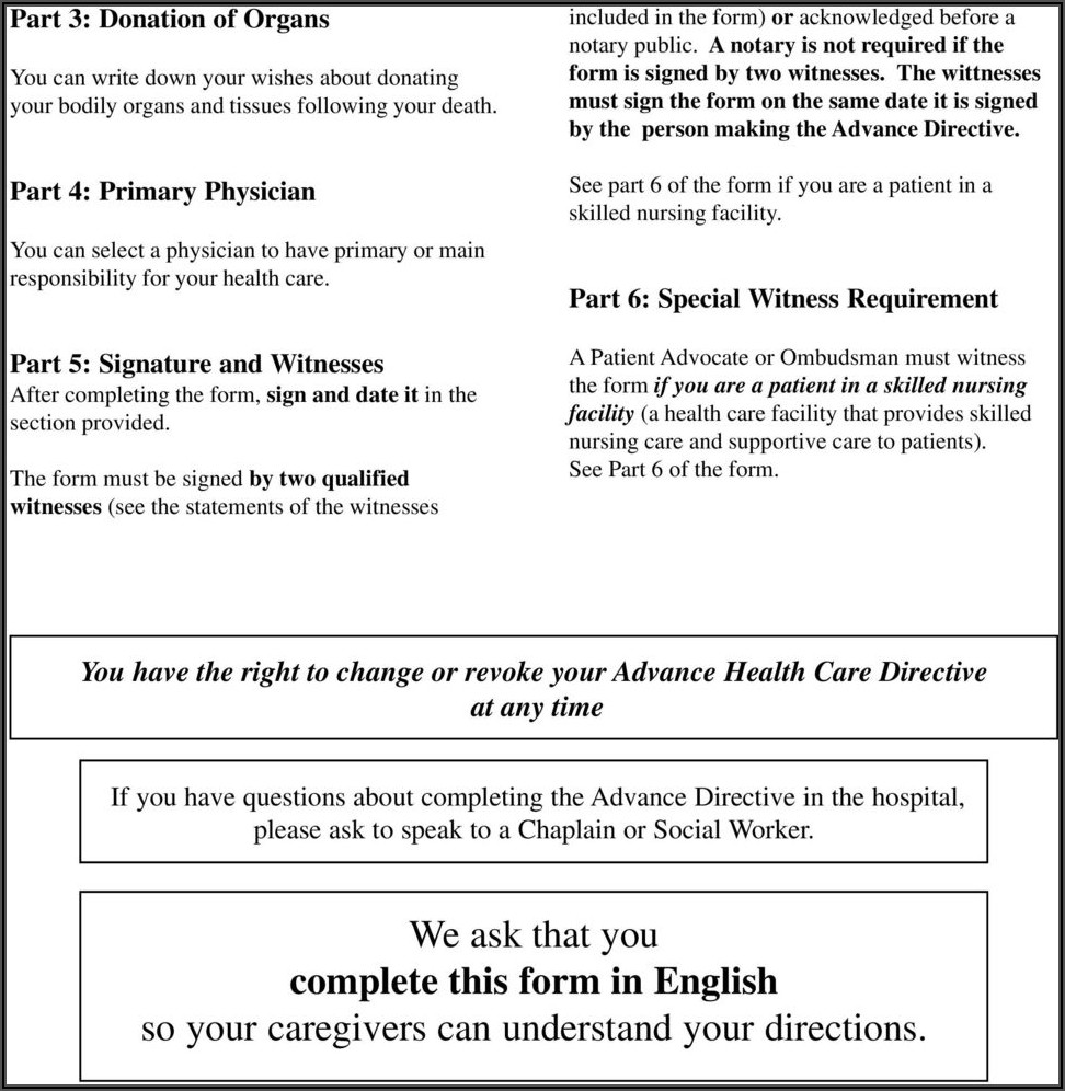 Advance Health Care Directive Form Instructions