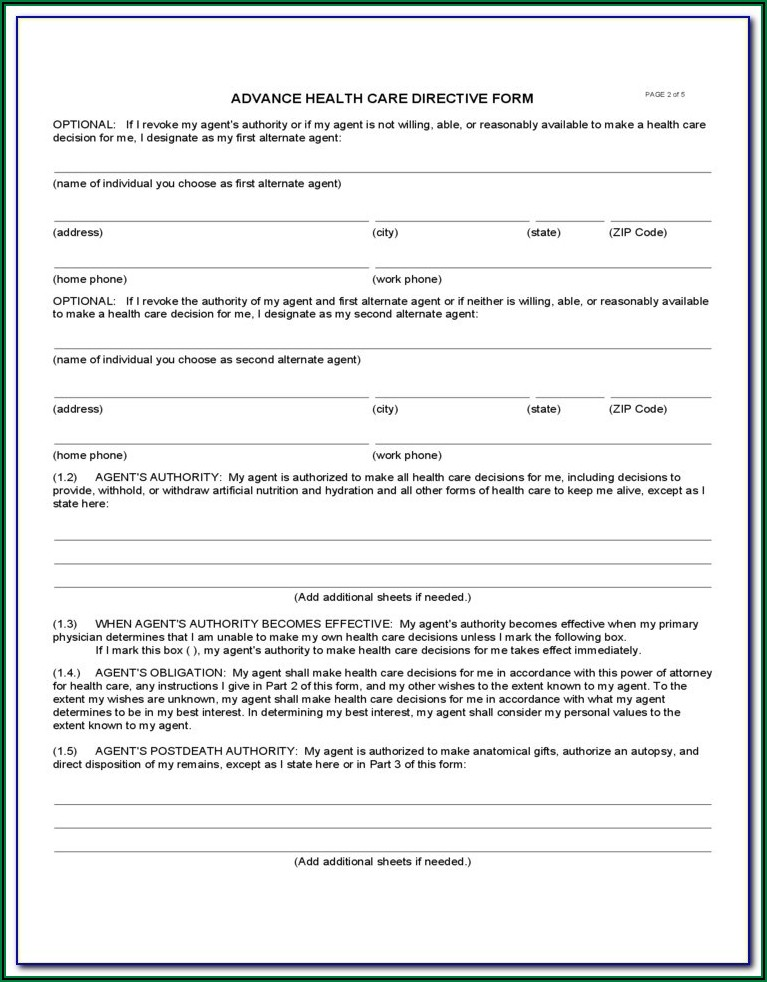 Advance Healthcare Directive Form Washington State
