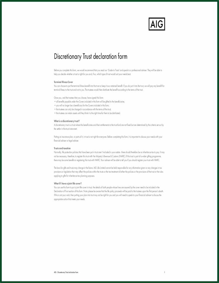 Aig Discretionary Trust Forms