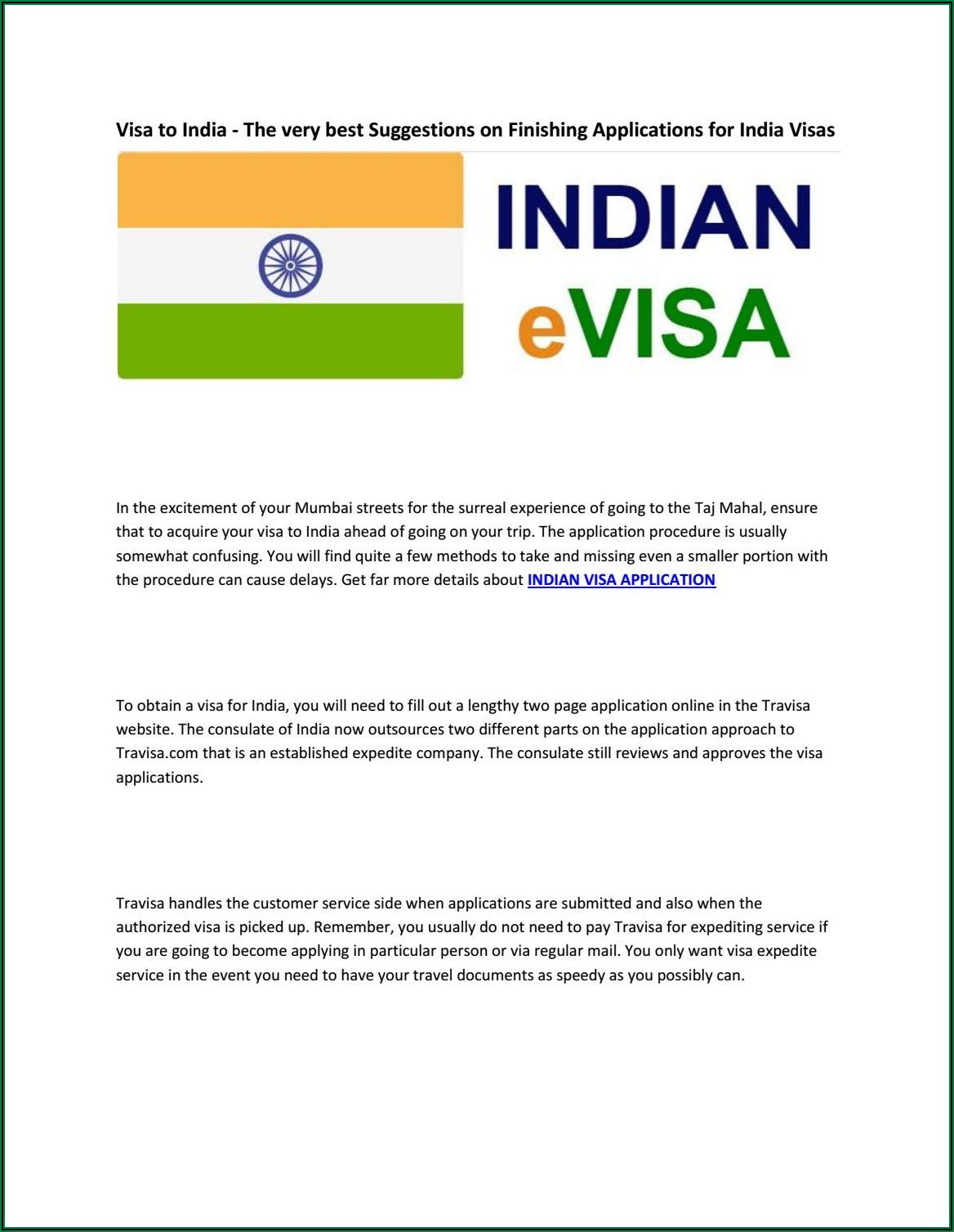 Apply For India Visa In Person