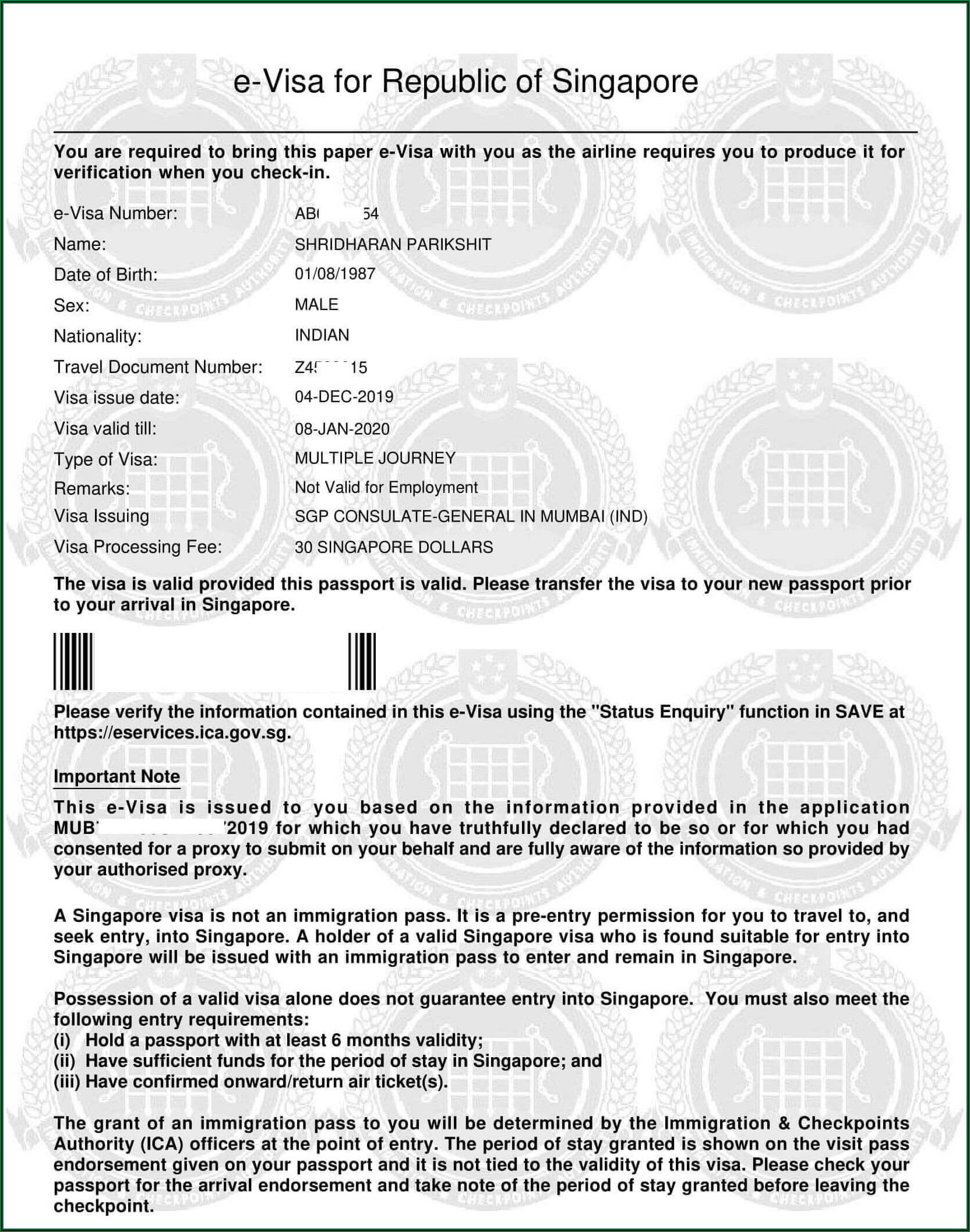 Apply For India Visa In Singapore