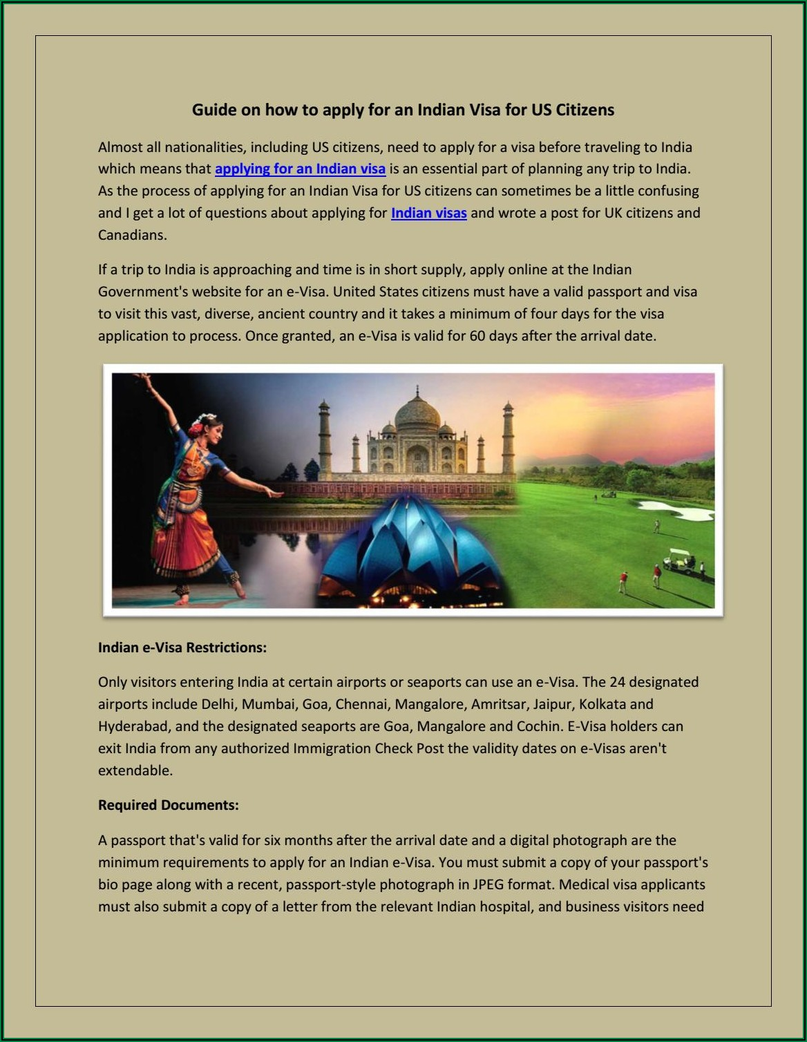 Apply For Indian E Visa From Uk