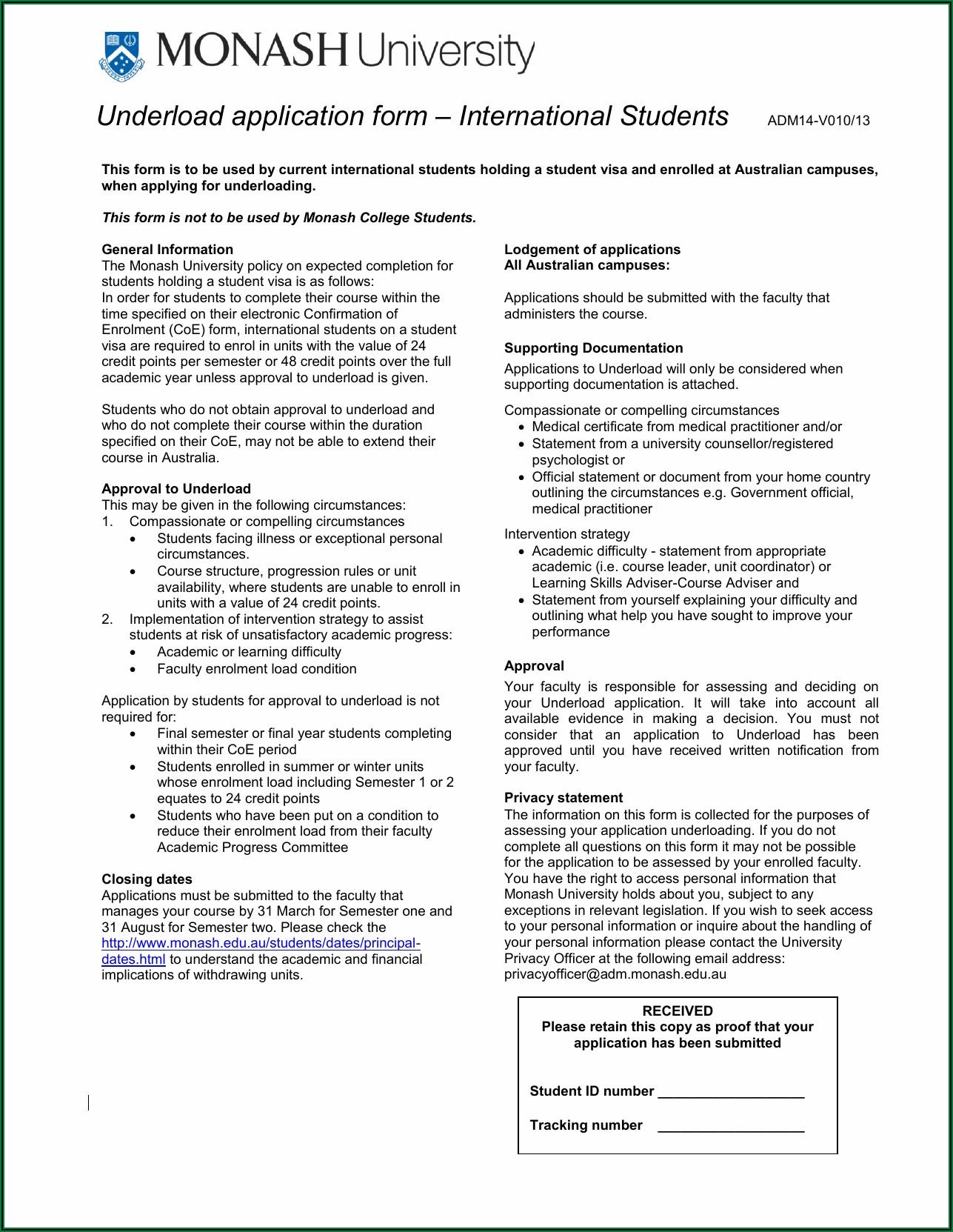 Australia Student Visa Application Form