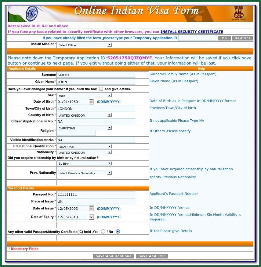 Australia Tourist Visa Application Form India