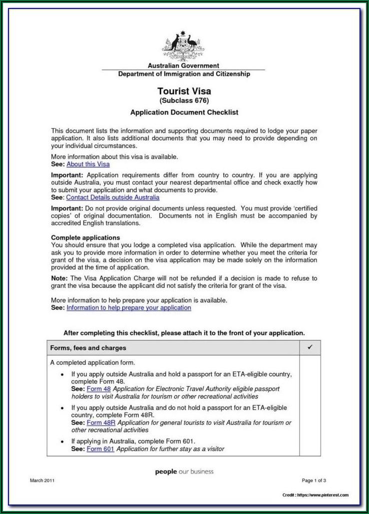 Australian Student Visa Application Form