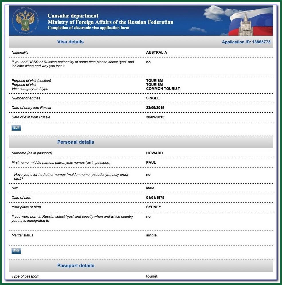 Australian Visa Application Form 1419 Sample