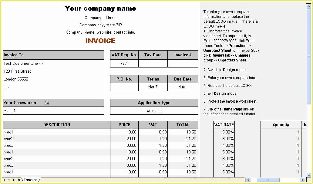 Bill Format In Word Download