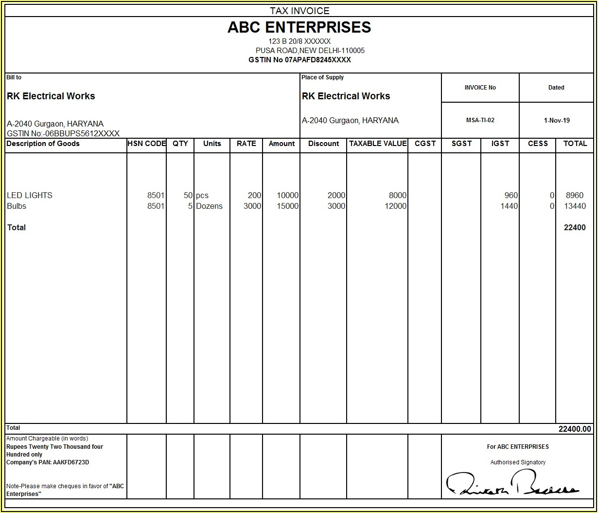 Cash Bill Format In Word With Gst