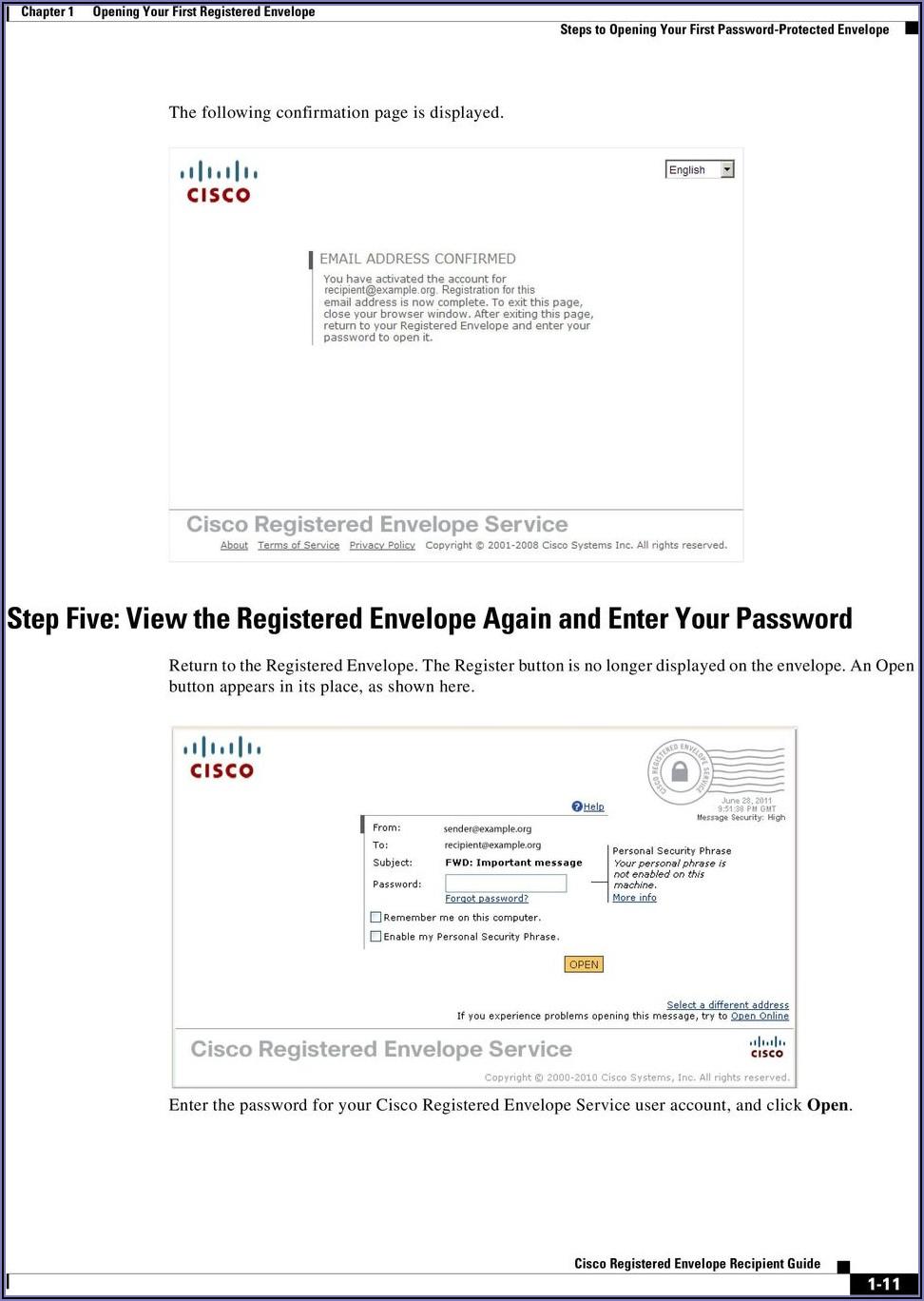 Cisco Registered Envelope Service Sign Up