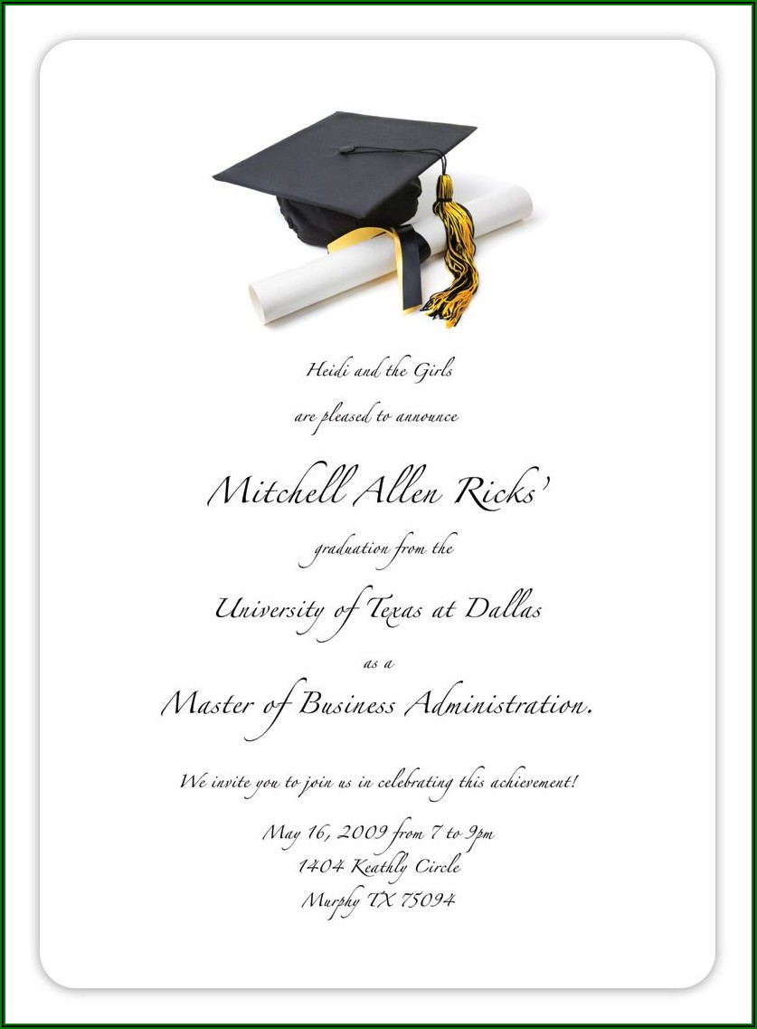 College Graduation Announcement Wording With Honors