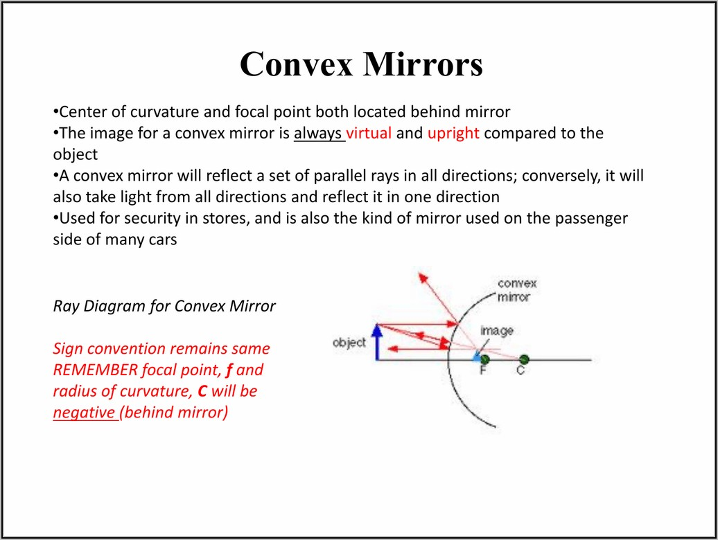 Convex Mirror Ray Diagram Inside Focal Point