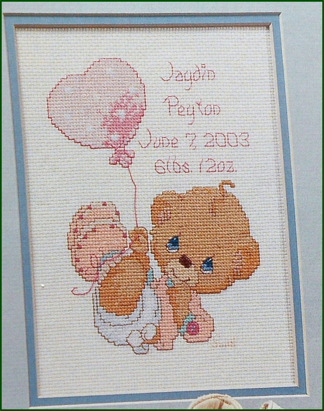 Counted Cross Stitch Birth Announcement