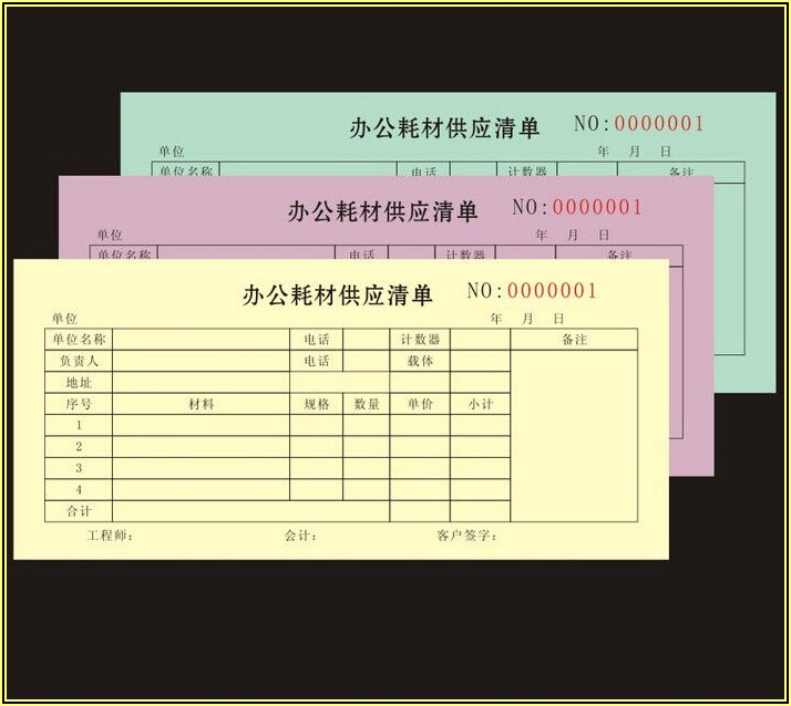 Custom Carbon Copy Invoice Book