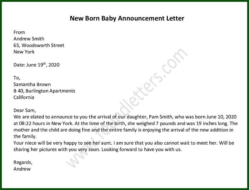 Death Announcement Letter Examples