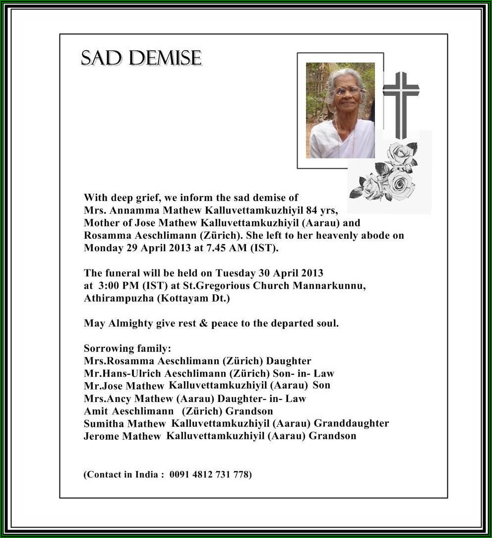 Death Announcement Letter Sample