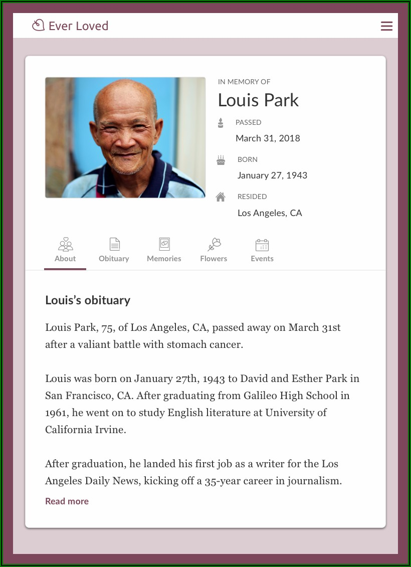 Death Announcement Newspaper Obituary Template
