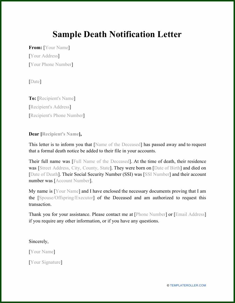 Death Notification Letter Sample