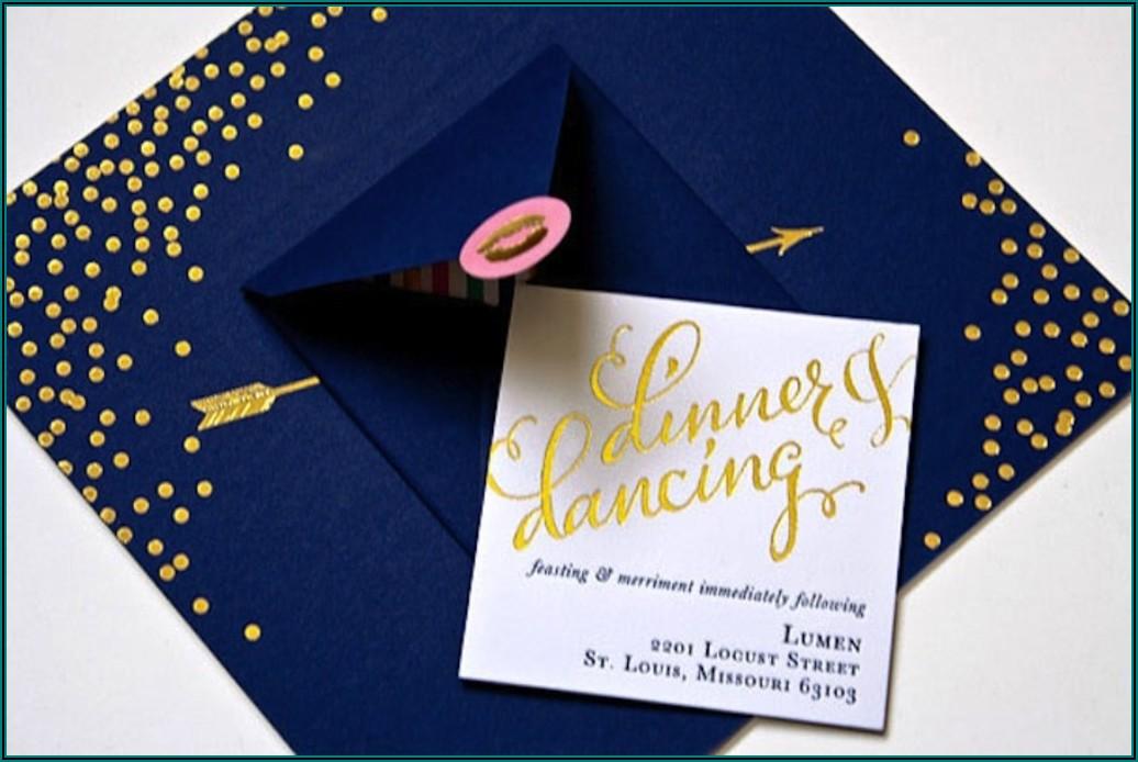 Elegant Wedding Invitations Rose Gold Foil Stamped