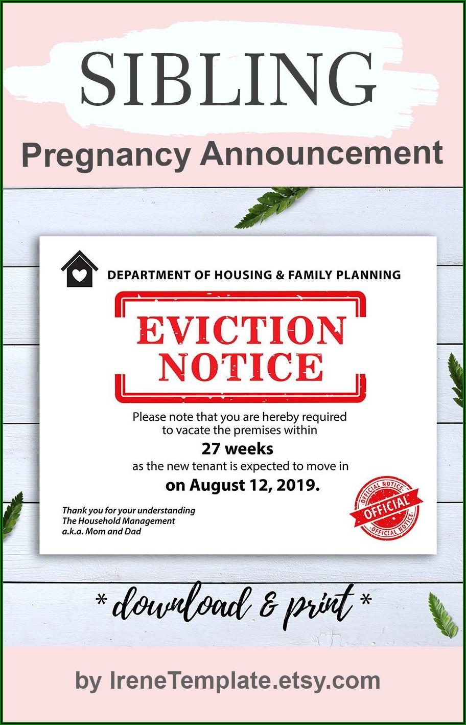 Eviction Notice Pregnancy Announcement Template