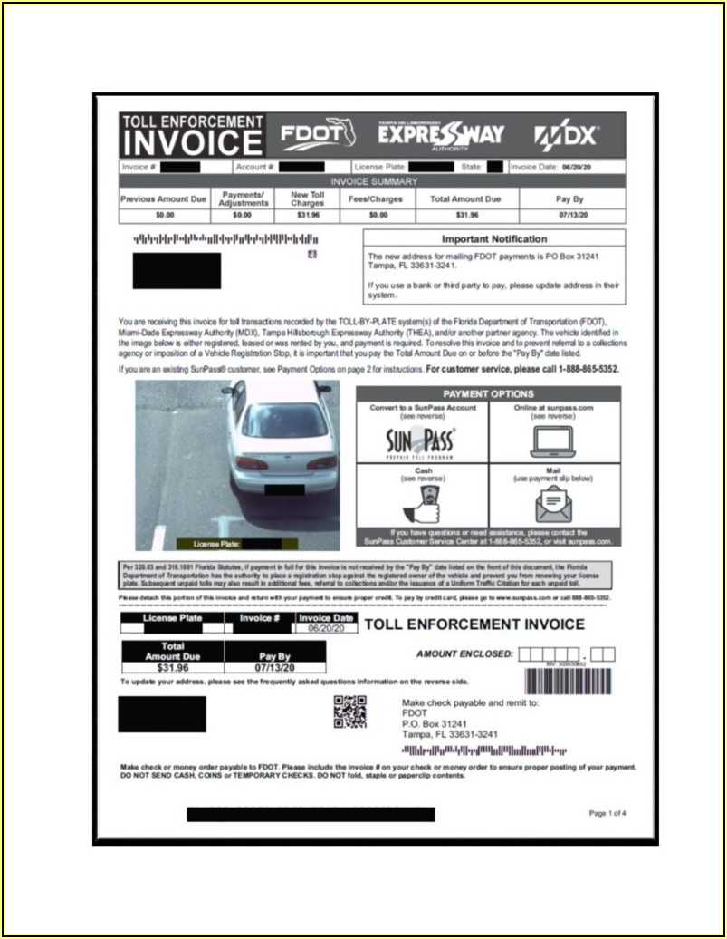 Fdot Toll Enforcement Invoice Phone Number