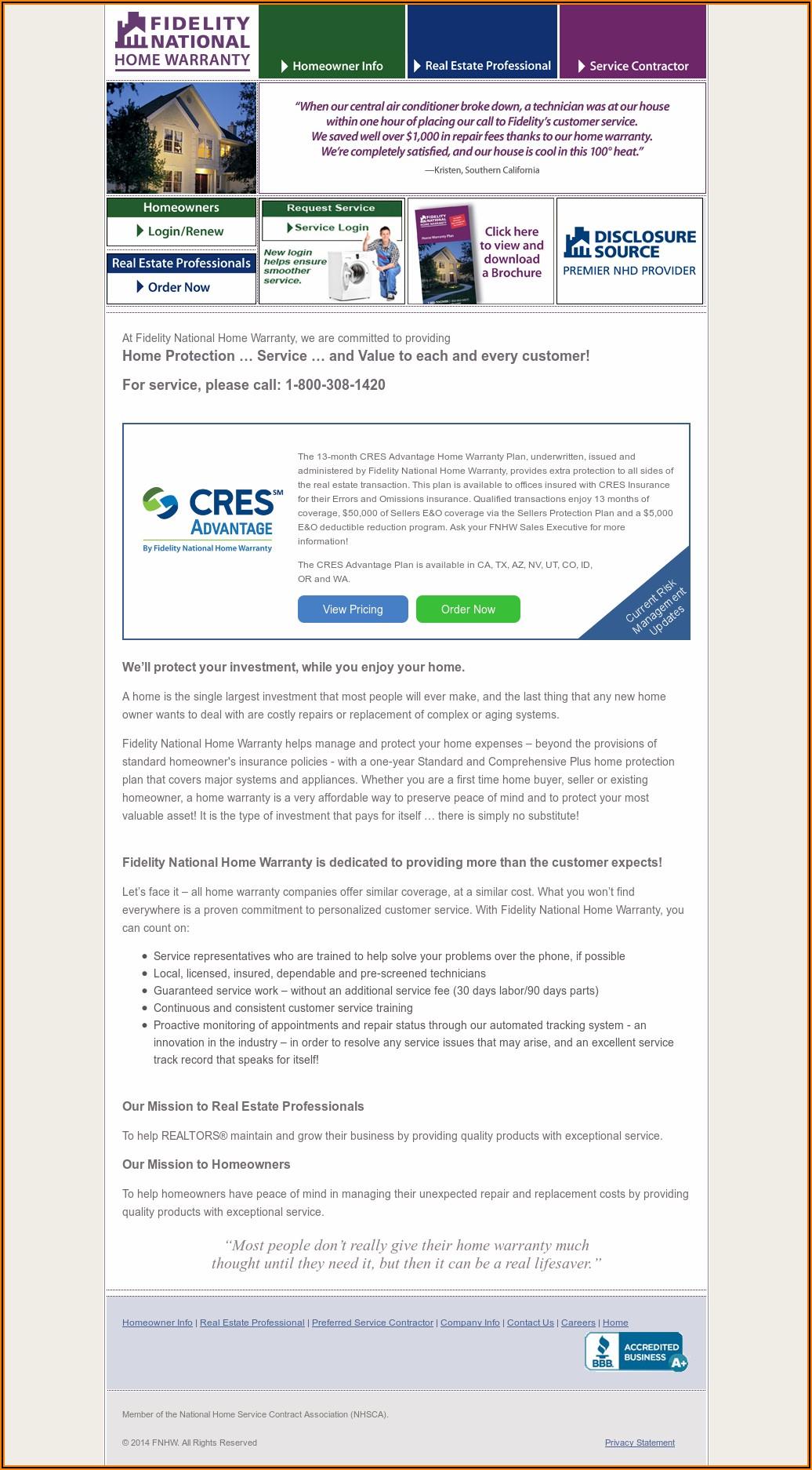 Fidelity National Home Warranty Plan Brochure