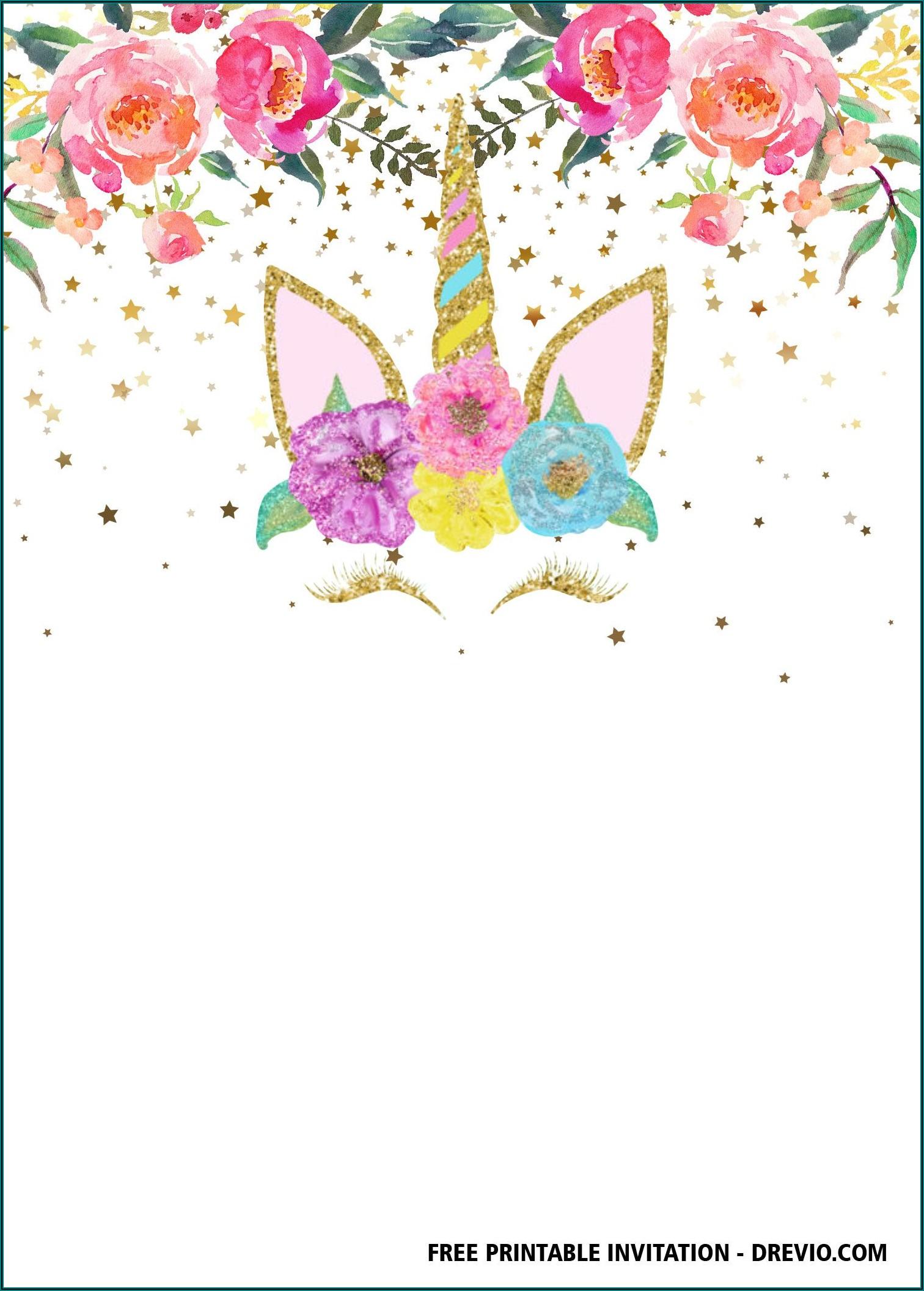 Free Birthday Invitation Templates Unicorn