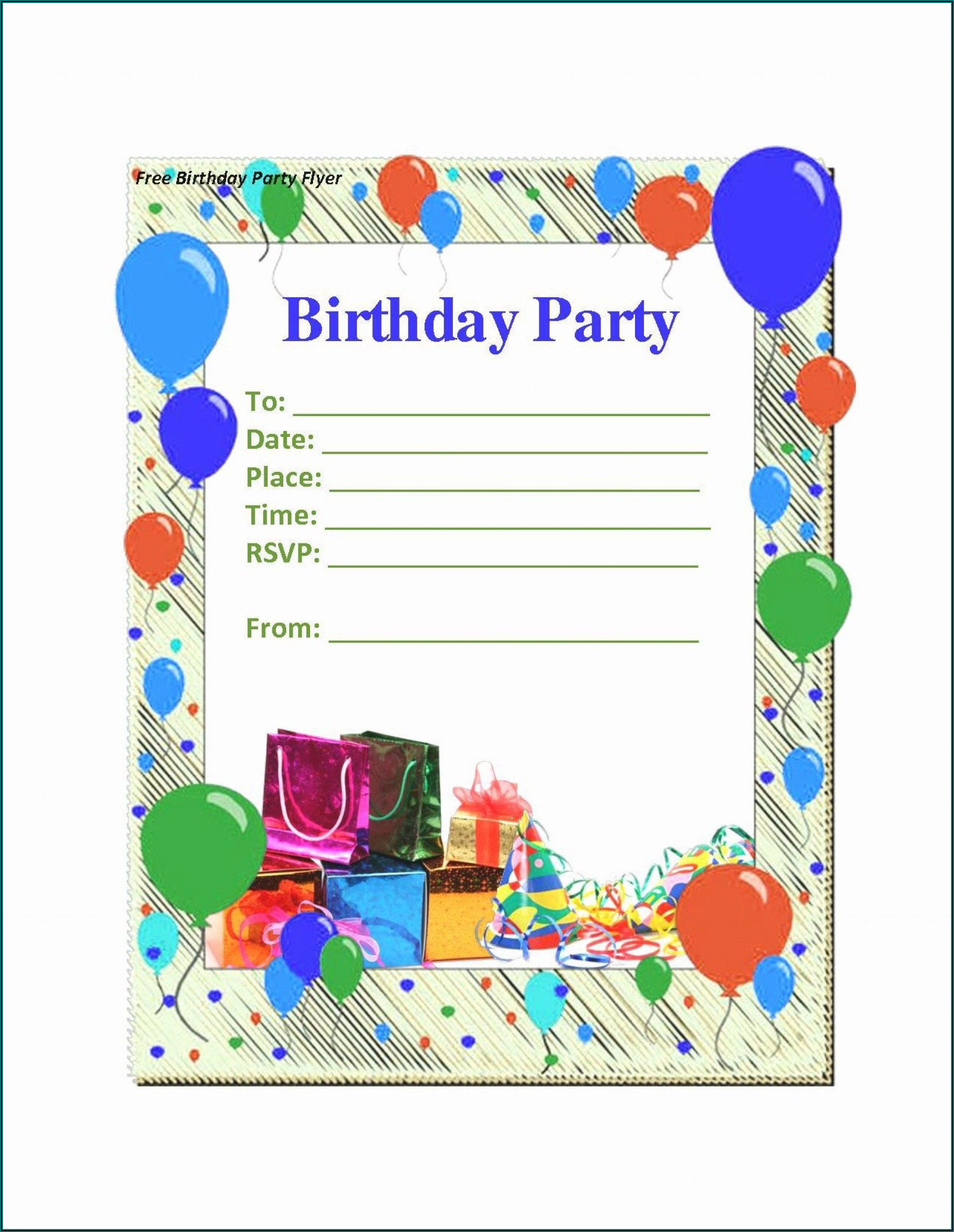 Free Birthday Party Invitation Template Word