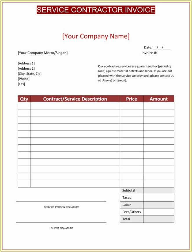 Free Printable Construction Invoices