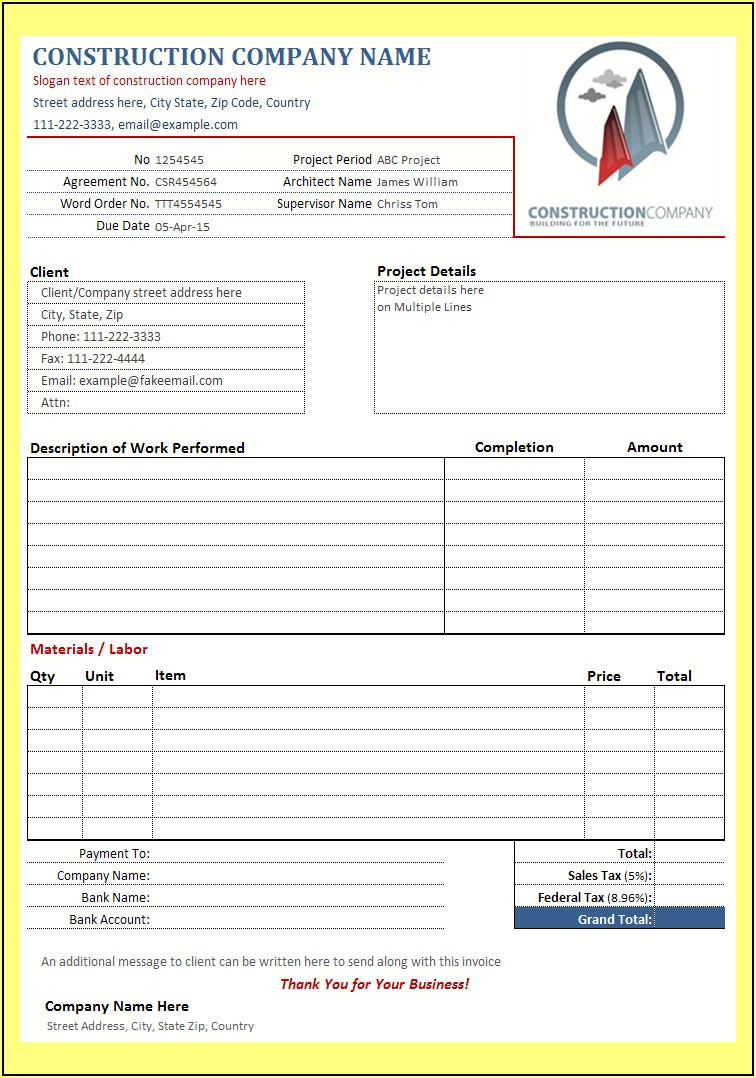 General Contractor Construction Invoice Sample