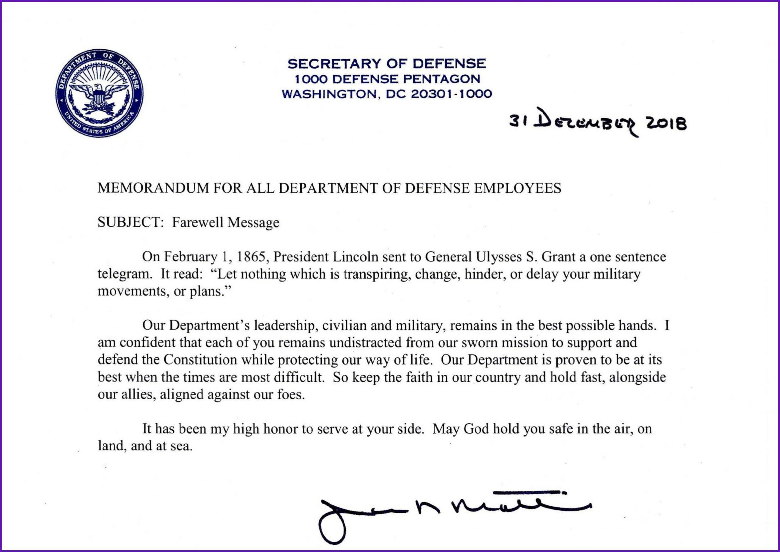 General Mattis Resignation Letter Pdf