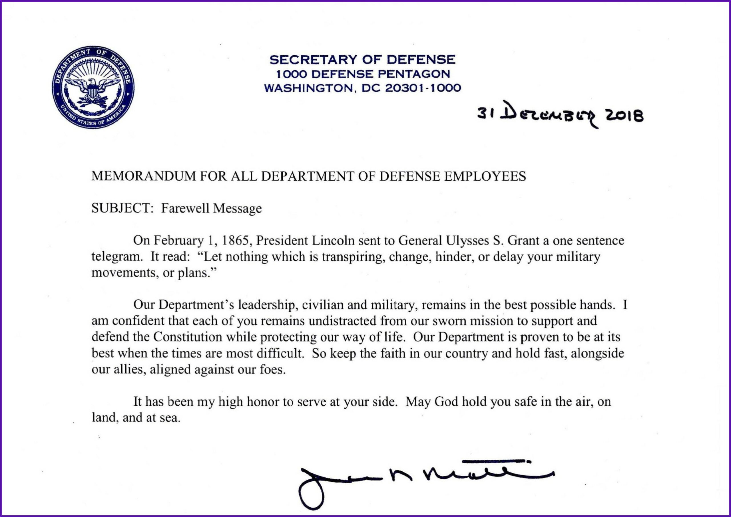General Mattis Resignation Letter