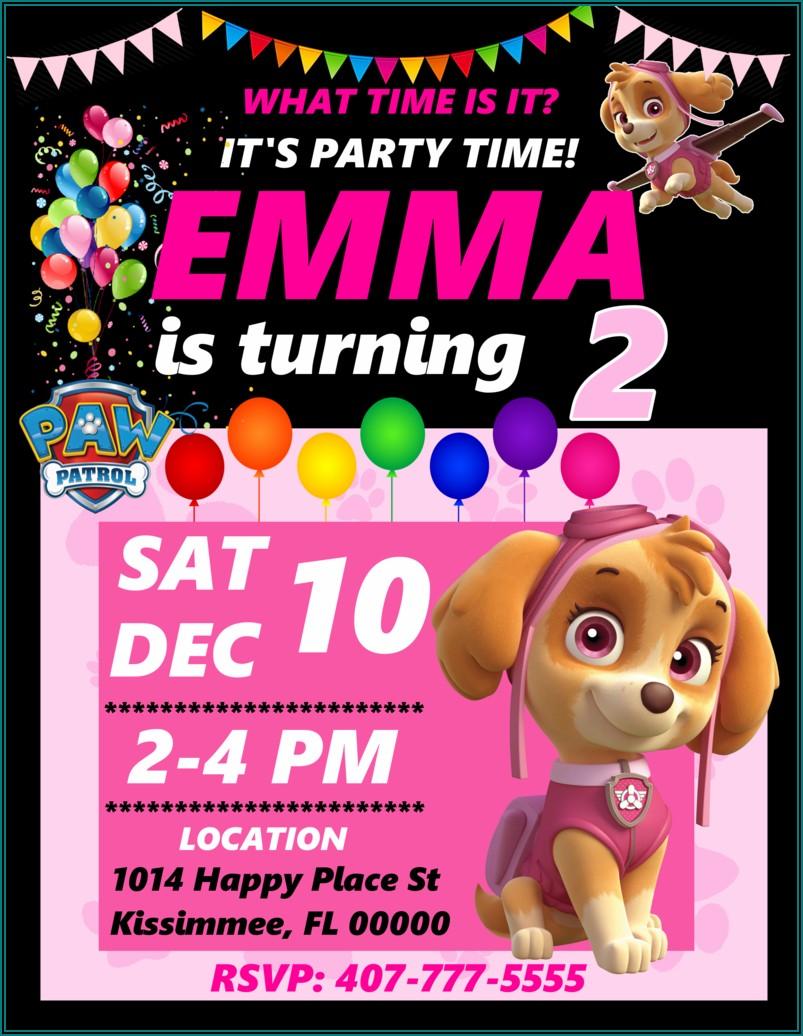 Girl Paw Patrol Birthday Party Invitations
