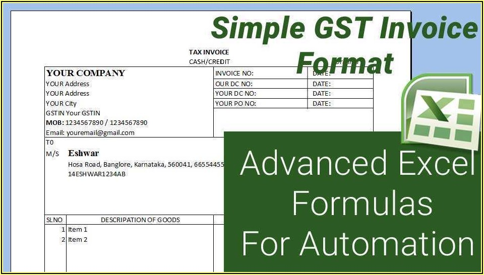 Gst Tax Invoice Format In Ms Word