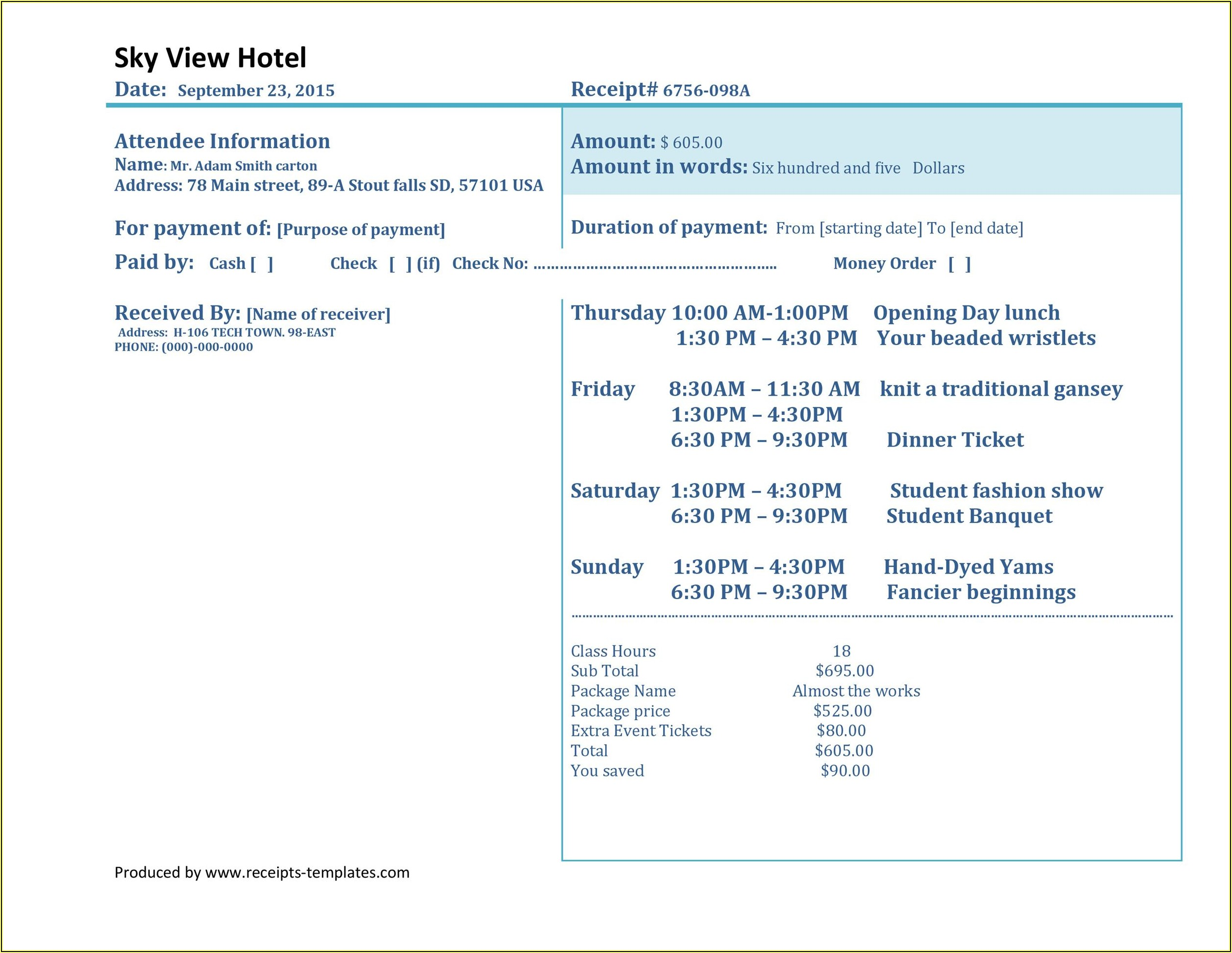 Hotel Bill Format In Word Download